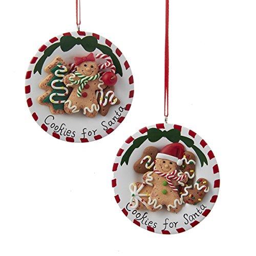 Kurt Adler 3″ Gingerbread Cookie For Santa Ornament 2/asstd