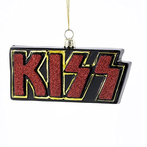 Kurt Adler Glass KISS Logo Ornament, 4-Inch