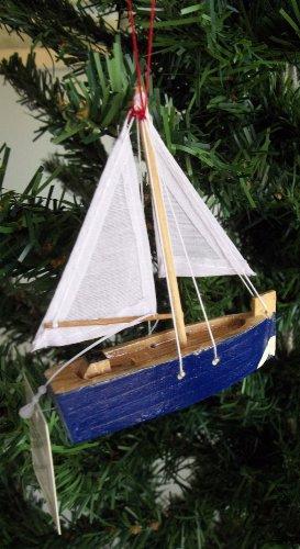 Blue Wood Sailboat Ornament