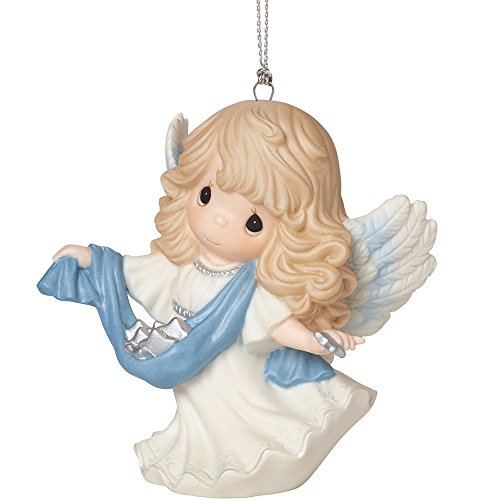 """Precious Moments, Christmas Gifts, """"Guide Us To Thy Perfect Light"""", 6th in Annual Angel Series, Porcelain Ornament, #161035"""