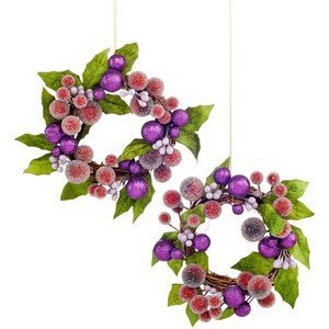 Holiday Lane Set of 2 Berry Wreath Ornaments