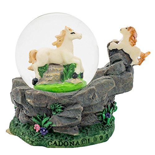 White Horses 3 x 3 Miniature Resin Stone 45MM Water Globe Table Top Figurine