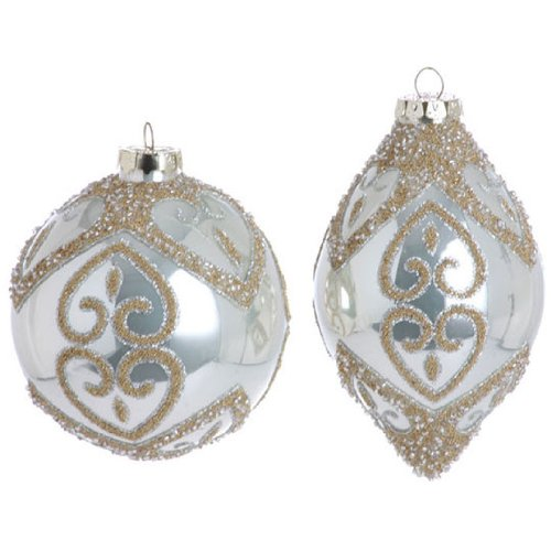 RAZ Imports – Pearl White and Gold Ball and Teardrop Glass Ornaments