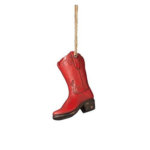 3.5″ Wild West Red and Black Decorative Cowboy Boot Christmas Ornament