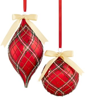 Holiday Lane Set of 2 Plaid Ball and Drop Ornaments