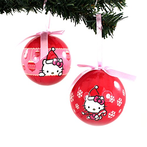 Hello Kitty Kurt Adler 2 pc Ornament Set Gift Boxed (Red Candy Cane Set)