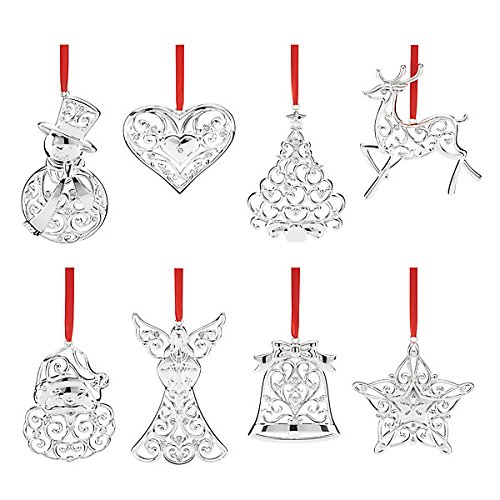Lenox Sparkle and Scroll Ornament Set of 8