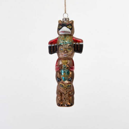 Indian Totem Pole Glass Ornament Glitter Accents Christmas Americana Decor New