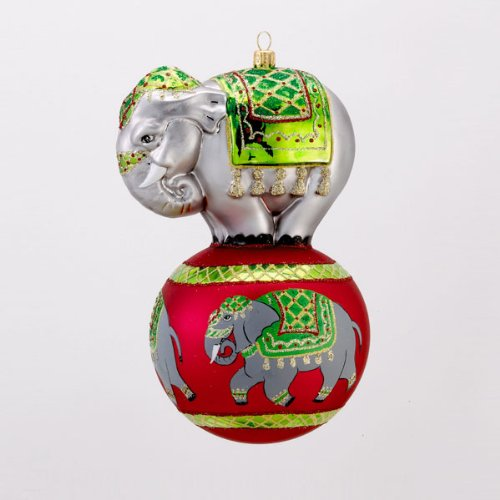 David Strand Designs Glass Elephant Trunk Show Parade Circus Christmas Ornament
