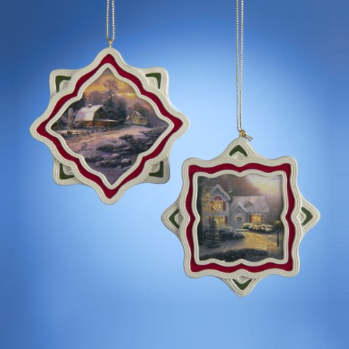 Kurt Adler Thomas Kinkade Winter Scene Holiday Ornament Set OF 2