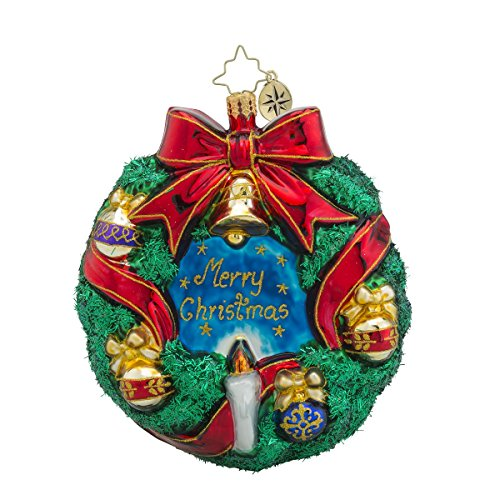 Christopher Radko Merry Christmas Wreath Glass Christmas Ornament – 4.5″h.