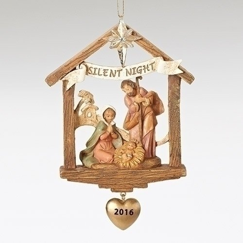 Fontanini Dated Ornament 4″ HOLY FAMILY STABLE