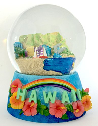 Hawaii Aloha Waikiki Musical Snow Globe Glitterdome 100mm Tune: Over the Rainbow