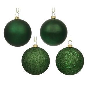 Vickerman 4″ Emerald 4 Finish Ball Ornament 12 per Box