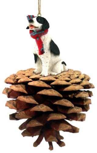 Pointer Black & White Pinecone Pet Ornament