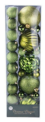 Assorted Christmas Green Decorative Orbs and Ornaments – 41 Pack