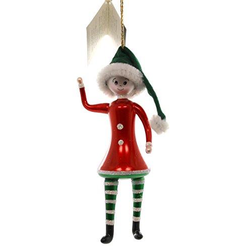 De Carlini GIRL ELF w/ RED SHIRT Glass Ornament Italian BA1748/1