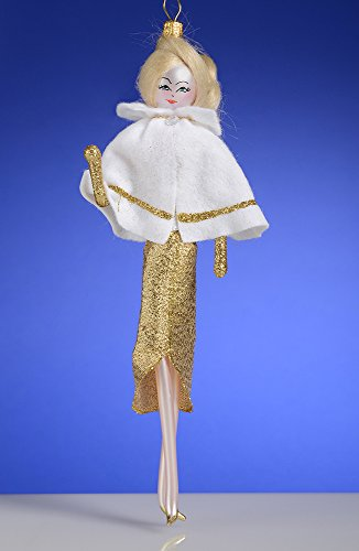 De Carlini Blonde in White and Gold Cape Italian Mouthblown Christmas Ornament