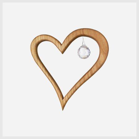 Wooden Heart Suncatcher Window Decoration 5″ with Swarovski Crystal