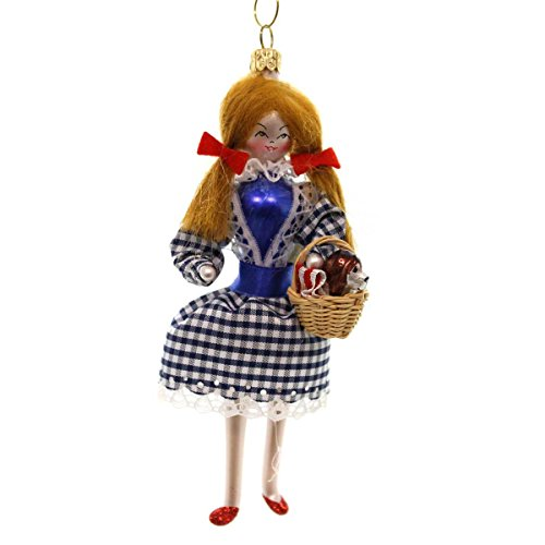De Carlini DOROTHY W/RED GLITTER SHOES Blown Glass Ornament Wizard Of Oz BA1715M