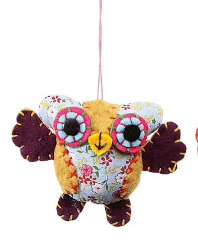 Creative Co-op Fabric Owl Ornament, Choice of Colors by Creative Co-op