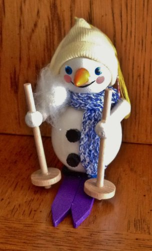Steinbach Hand Made in Germany Wooden Ornament Skiing Snowman