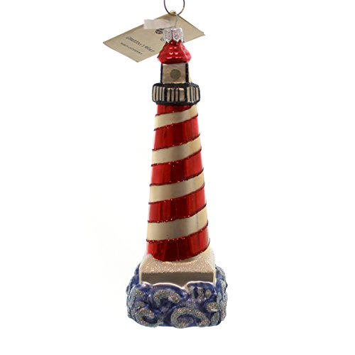 Christina's World LIGHTHOUSE Glass Ornament Red Stripe Ocean Sea356