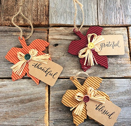 AGD Fall Decor – Maple Leaf Ornaments Thankful Grateful Blessed 3pc. Set #718/20