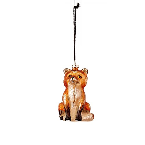 Sage & Co. XAO19090TN Antiqued Glass Sitting Fox Ornament (6 Pack)