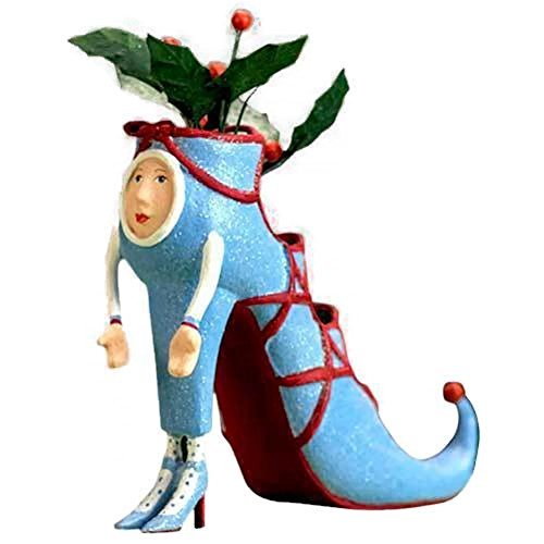 Patience Brewster Krinkles Blue High Heel Shoe Christmas Ornament