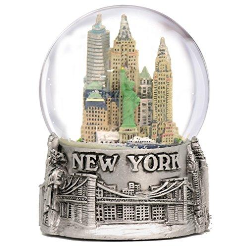 New York City Silver Lined Snow Globe 65mm NYC Souvenir Color Skyline Snow Globes 3.5″