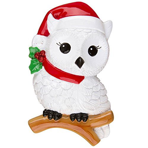 White Snowy Owl Christmas Ornament