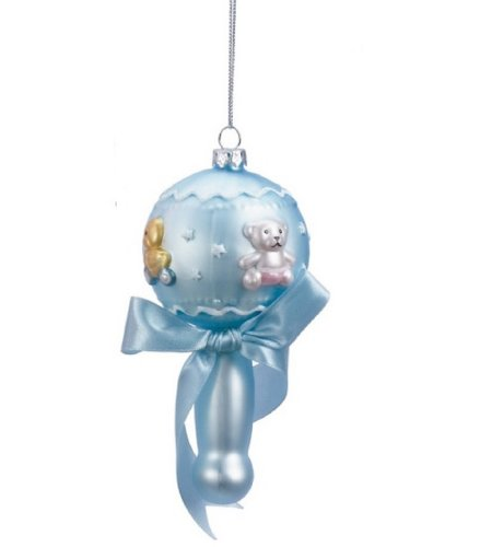 Midwest Blue Baby Rattle with Ribbon Teddy Bear and Duck Glass Christmas Ornament