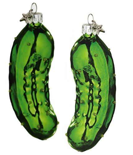 Traditional German Glass Pickle Holiday Ornaments Set of 2 Midwest CBK