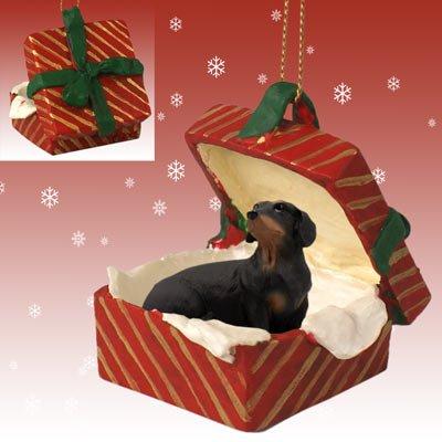 Conversation Concepts Dachshund Black Gift Box Red Ornament