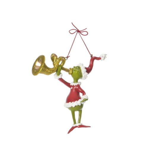 Department 56 Glittered Grinch Blows His Horn Ornament