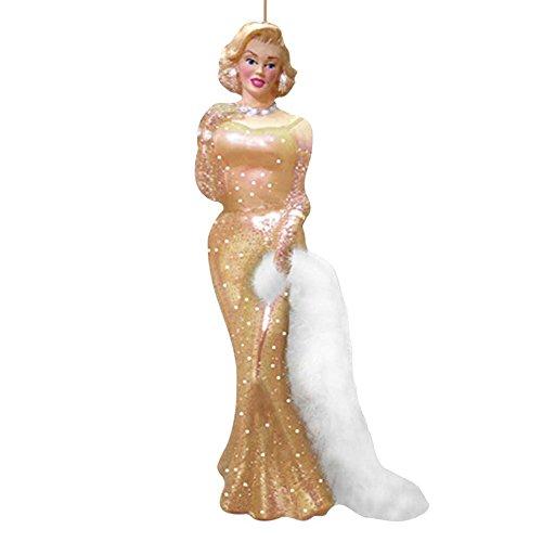 Kurt Adler Glass Marilyn Monroe Dress Ornament, 4.75-Inch, Gold