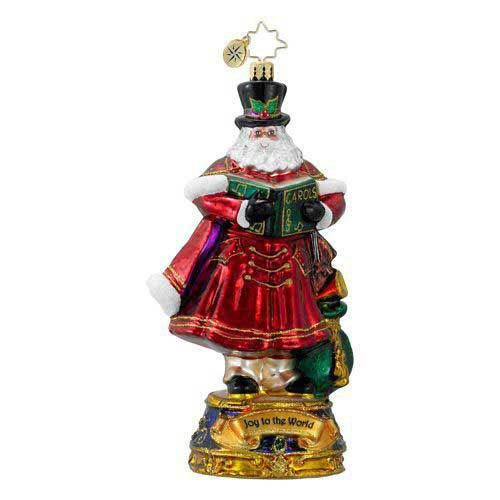 Christopher Radko JOY TO THE WORLD. Blown Glass Ornament Santa C Arols