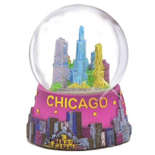 Chicago Snow Globe – 65MM Pink, Chicago Snow Globes, Chicago Souvenirs