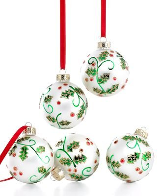 Martha Stewart Collection Christmas Ornaments, Box of 5 White Holly