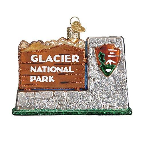 Glacier National Park Sign Glitter Glass Christmas Ornament