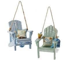 Kurt Adler 3″ Resin Beach Chair Ornament Set of 2