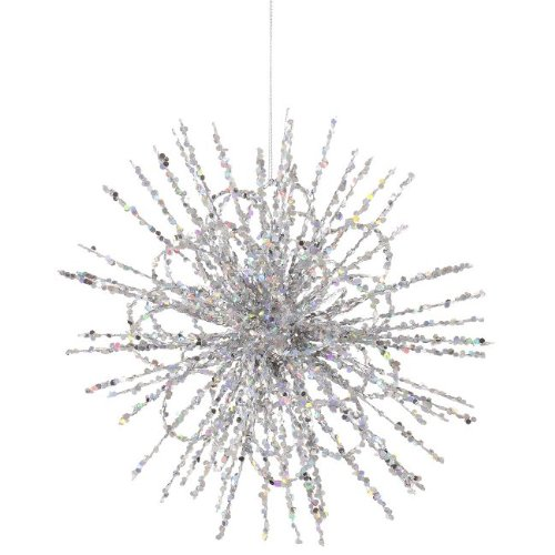 8″ Silver Glitter Flower Blossom Sequined Christmas Ornament
