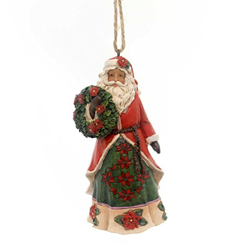 Jim Shore Heartwood Creek Floral Poinsettia Santa Christmas Ornament 4053834 New