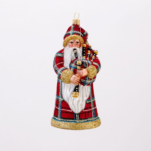5.25″ David Strand Glass Highland Fling Santa Stewart Plaid Christmas Ornament