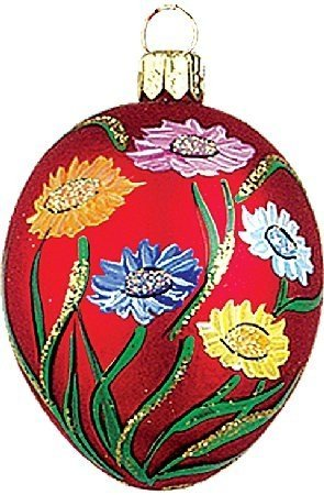 Easter Egg with Colorful Flowers Polish Glass Christmas Ornament Made in Poland