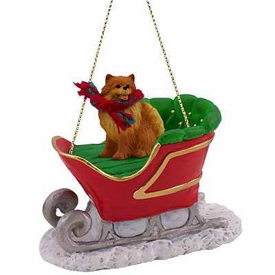 Pomeranian Sleigh Christmas Ornament
