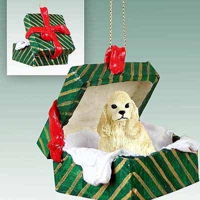 Cocker Spaniel Green Gift Box Dog Ornament – Buff