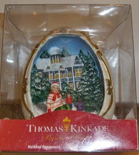 Kurt Adler Thomas Kinkade Sled Diorama Egg-Shaped Licensed Christmas Ornament