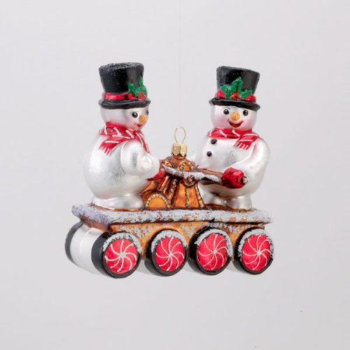 4.75″ David Strand Designs Glass On Track Cherry Mint Snowmen Christmas Ornament